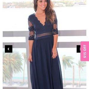 Navy Maxi Dress with Mesh Embroidered Sleeves